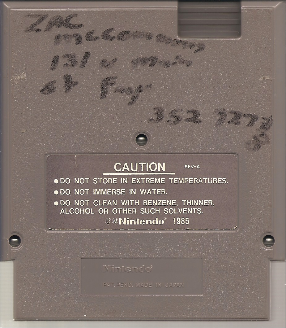 Zac's address on the back of a BattleToads NES cartridge